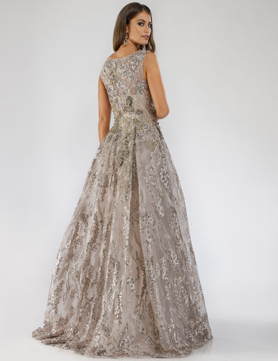 SAMINA MUGHAL Couture SMC29664 Shimmery high neckline fit-and-flare dress