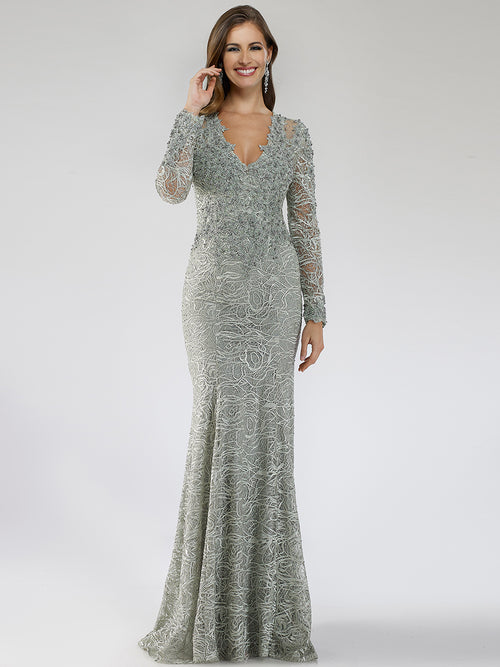 SMC29665 Glitzy embroidered V-neckline long sleeves party dress