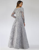 SAMINA MUGHAL Couture SMC29669 Lovely floral lace applique V-neckline party dress