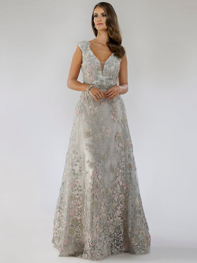 SAMINA MUGHAL Couture SMC29671 Fabulous floral lace applique V-neckline party dress
