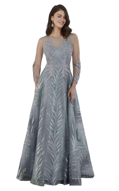 SMC29761 Beaded and leaf embroidered A-line dress