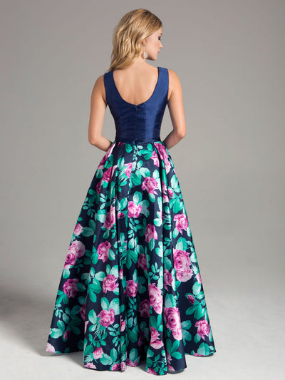 SML32826 - Flower Print Evening Gown