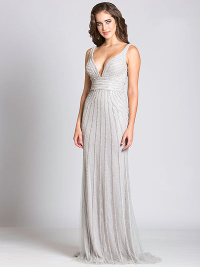 SML32938 - Twinkling Lines Deep V Evening Gown