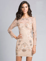 SAMINA MUGHAL Luxxe SML33134 - Sheer Elegance Mini Dress