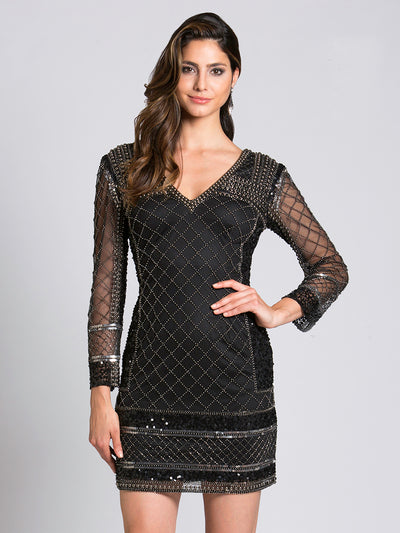 SML33138 - Sleek Diamonds Illusion Cocktail Dress