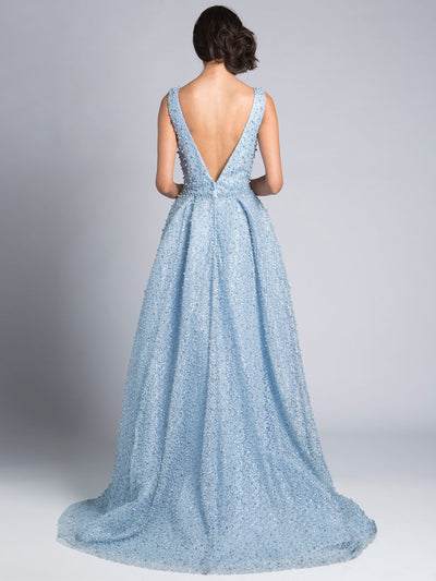 SMC33202 Light Blue - Sleeveless Crystal-clad Evening Gown