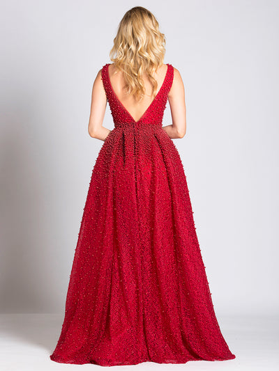 SMC33202 Red - Sleeveless Crystal-clad Evening Gown