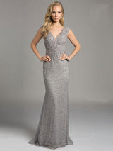 SAMINA MUGHAL Luxxe SML33232 - Scallop Edged V Neckline Evening Gown
