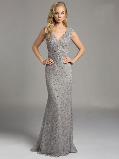 SML33232 - Scallop Edged V Neckline Evening Gown