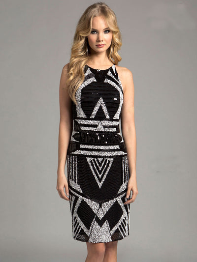 SML33255 - Jeweled Dazzle Halter Evening Dress