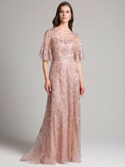 SML33277 - Feminine Elbow-sleeved Evening Gown With Filmy Flutters