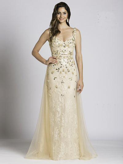 SMC33528 - Ethereal Lace Flutter Evening Gown