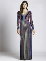SAMINA MUGHAL Couture SMC33541 - Vintage Striped Sparkle Evening Dress