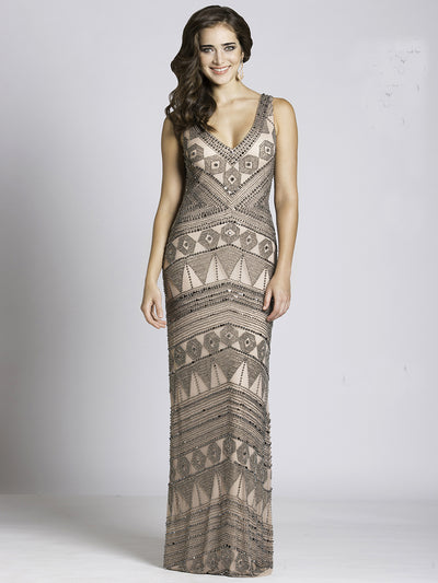 SMC33551 - Geometric Masterpiece Striped Evening Dress