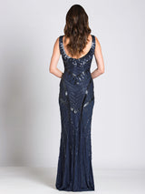 SML33552 - Snazzy sleeveless evening gown with deep V-neckline
