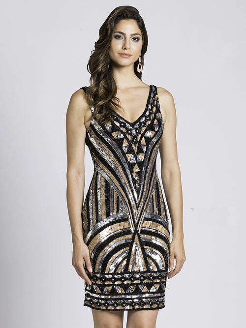 SML33581 - Gatsby Shimmer Sequined Cocktail Dress