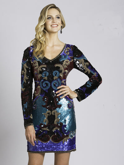 SML33583 - Shining Sequined Patterned Cocktail Dress