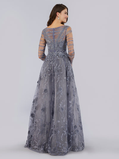 SMC29755 Long sleeve sheath gown with V-neckline