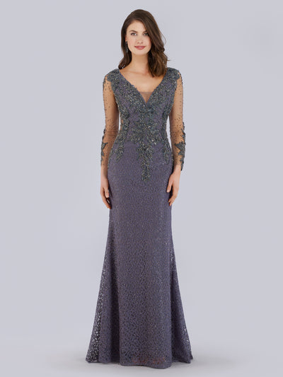 SMC29757 Beaded fit and flare gown