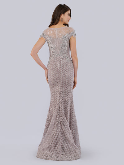 SMC29763 Beaded mermaid gown with sheer high neck