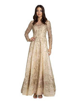 SMC29856 - Long-Sleeved Textured Evening Gown