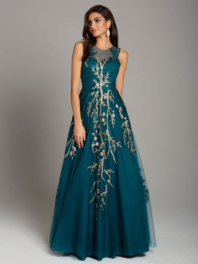SMC29858 - Sheer and Contrast Floral Detail Evening Gown