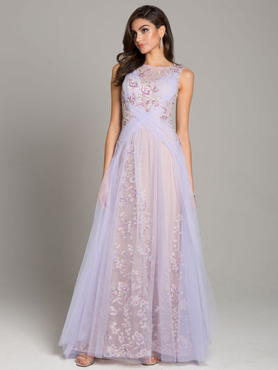 SMC29859 - Petals and Sheer Ruched Evening Gown