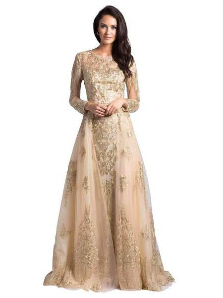 c7b0744f83 SMC33626 - Divine Long-sleeved Evening Gown With Open Overskirt