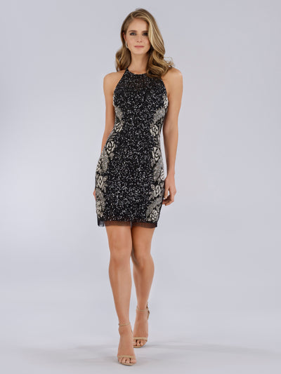 SML29718 Sequined and floral pattern cocktail dress