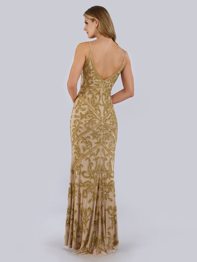 SAMINA MUGHAL Luxxe SML29744 Sequined and beaded V-neck evening gown