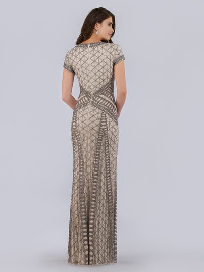 SAMINA MUGHAL Luxxe SML29746 Beaded V-neck sheath gown