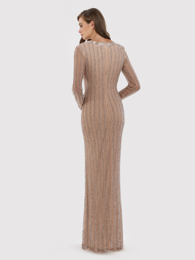 SAMINA MUGHAL Luxxe SML29747 Beaded V-neck sheath gown with long sleeves