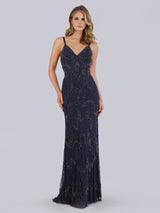 SAMINA MUGHAL Luxxe SML29807 Beaded sheath gown with V-neckline