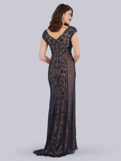 SAMINA MUGHAL Luxxe SML29836 Beaded and floral pattern gown with V-neckline