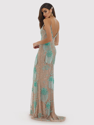 SML29892 Elaborately sequined gown