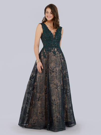 SML33598 Sequined and floral appliqued A-line ballgown
