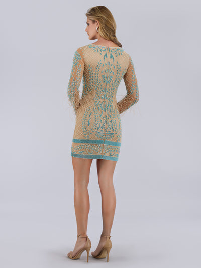 SML42630 Beaded sheath silhouette cocktail dress