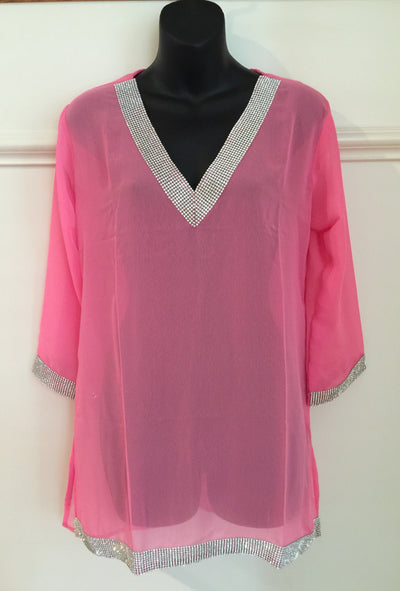 SMR012 - Long Sleeve Resort Tunic with Crystal Embellished Tape
