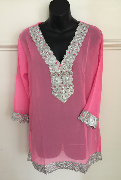 SMR013 - Long Sleeve Resort Tunic with Silver Trim Detail