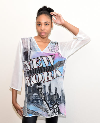 SMR015 -  NEW YORK Digital Print Chiffon Tunic
