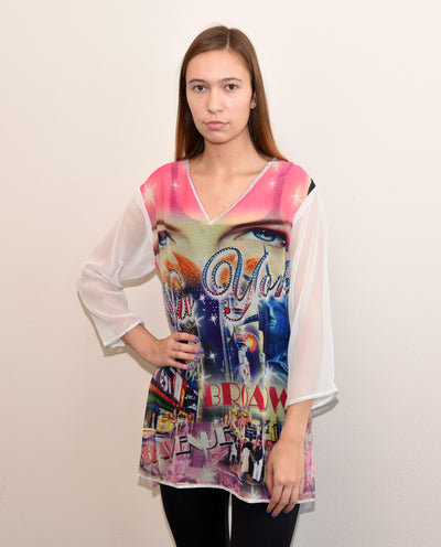 SMR016 -  NYC Digital Print Chiffon Tunic