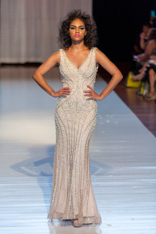 DL32600 – Pearl Encrusted Evening Gown