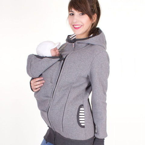 mom and baby hoodie carrier