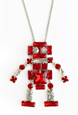 Single Long Red Robot Necklace