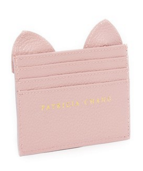 Cat Card Case - Dust Pink