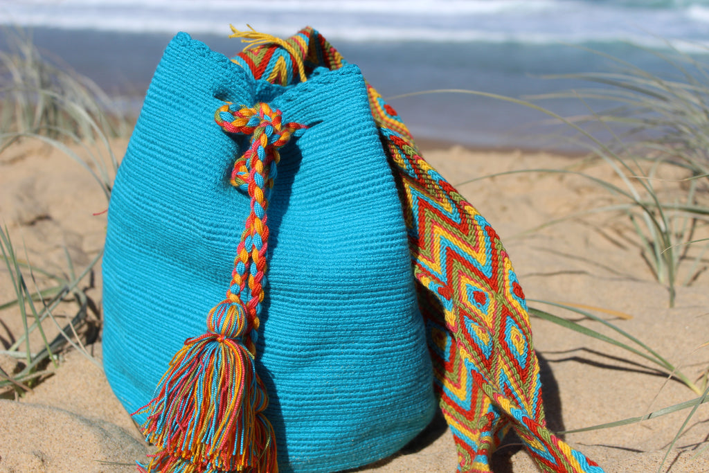 Wayuu Mochila -  Authentic Handmade Wayuu Bag - MOBOLSO - Blue Shoulder Bag for Women - Handmade Mochila. - MOBOLSO