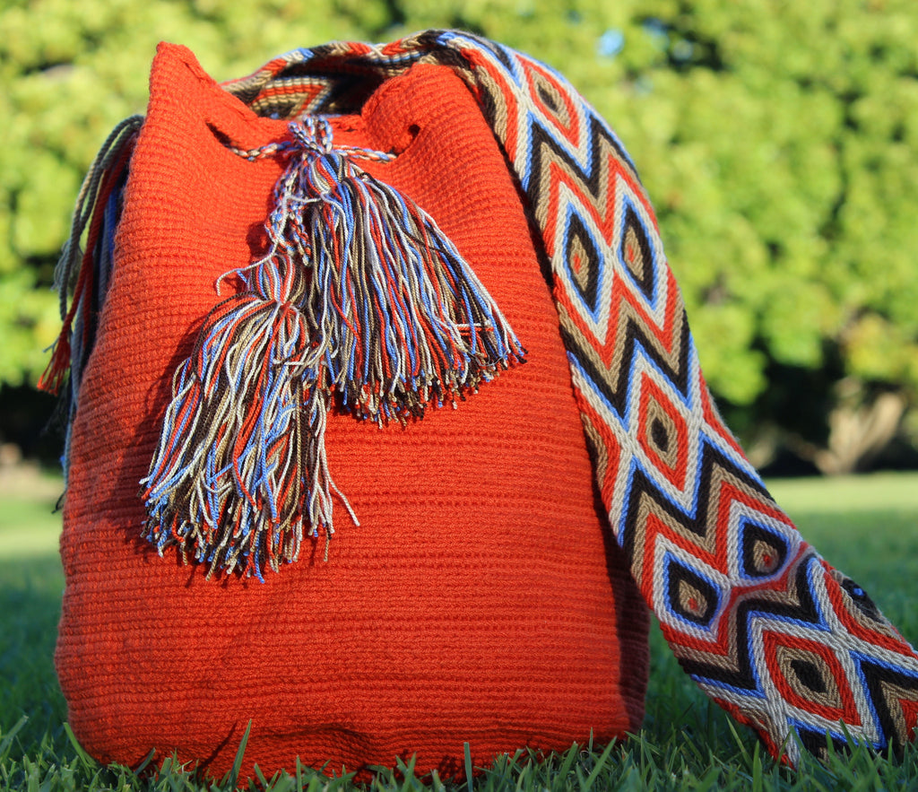 Wayuu Mochila -  Authentic Handmade Wayuu Bag - Ochre Single Colour with Patterned Strap - Shoulder Bag - Handmade - One of a Kind - 100% Cotton - MOBOLSO - 1