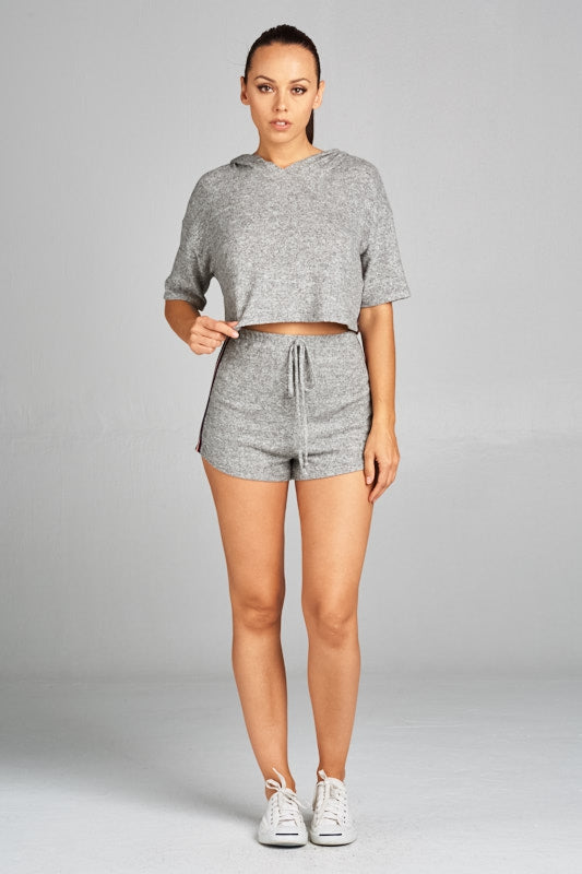 82b8583a2 Load image into Gallery viewer, Crop Top Hoodie Shorts Set ...