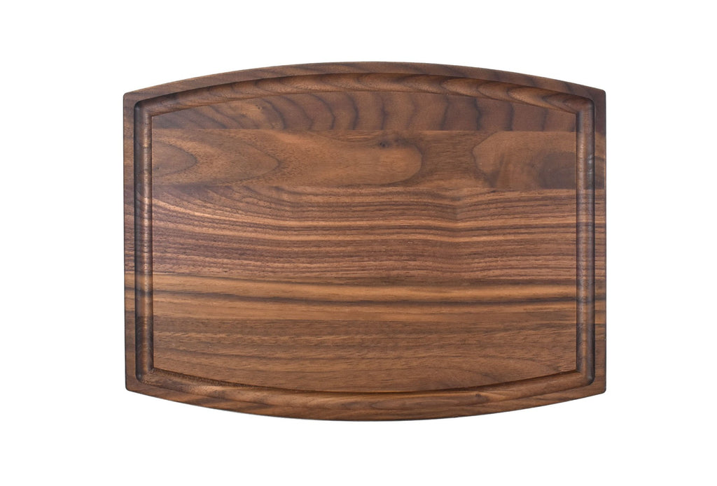 "Arched Walnut Cutting Board With Juice Groove (9"" x 12"")"