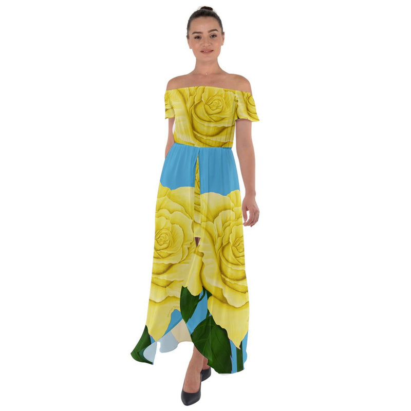 Yellow Aqua Rose Off Shoulder Open Front Chiffon Dress